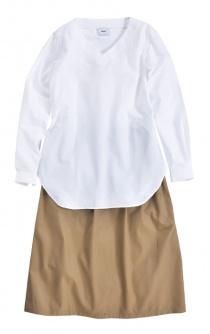 〈2階インフォメーション〉〈mui/ムイ〉Vネックシャツ/ハカマスカート