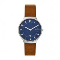 〈タイム プラス スタイル〉〈SKAGEN〉 GRENEN Slim Brown Leather Watch